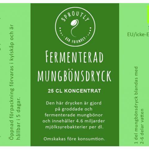 Fermenterad mungbönsdryck Etikett