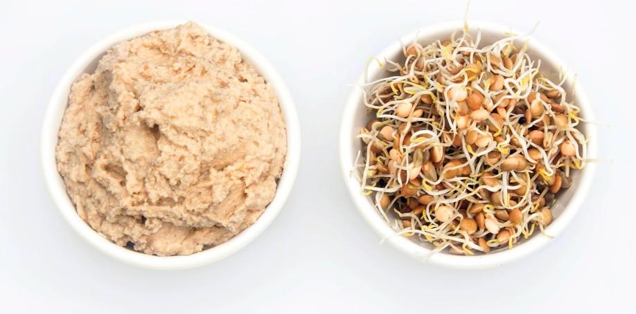 Hummus på groddade linser  och kikärtor